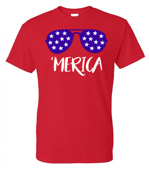 'Merica Sunglasses - Red Short Sleeve Tee