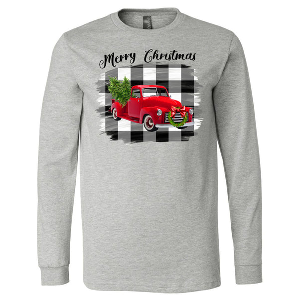 Merry Christmas Red Truck Black White Plaid Background Tee