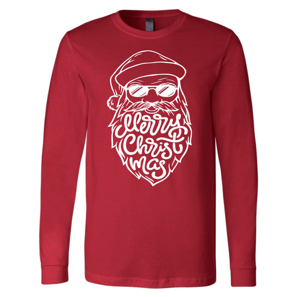 Merry Christmas Santa Beard - Red Longsleeve Tee