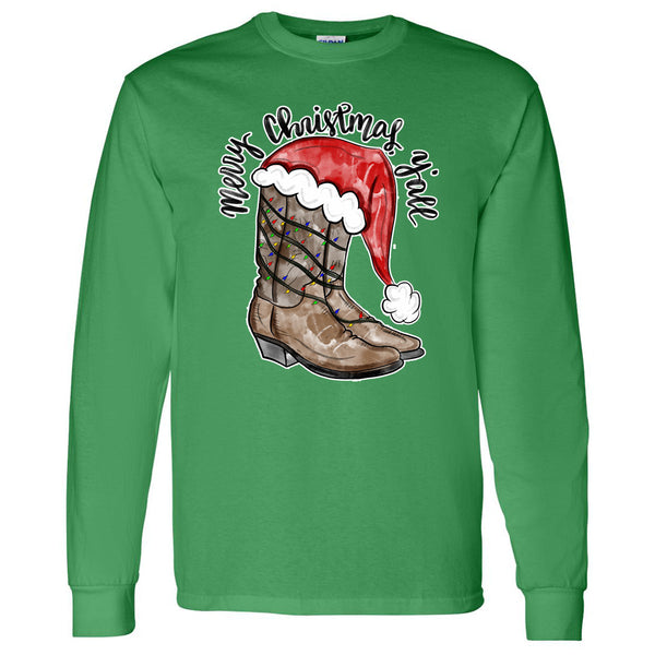 Merry Christmas Y'all Cowboy Boots - Green Longsleeve Tee
