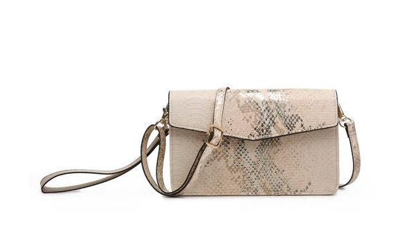 Metallic Snake Print Touchscreen Crossbody