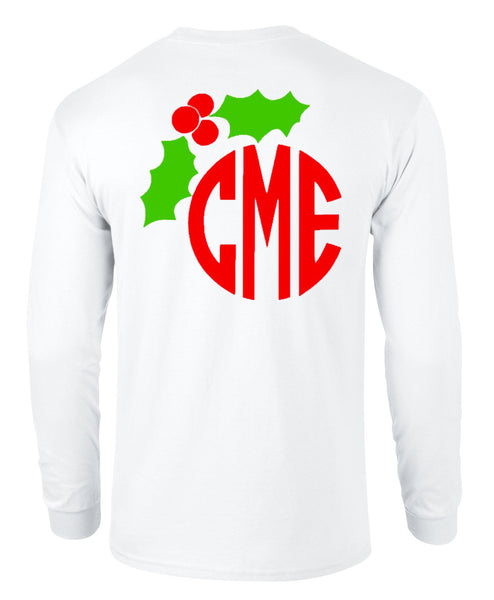 Mistletoe Monogram Tee - White Longsleeves