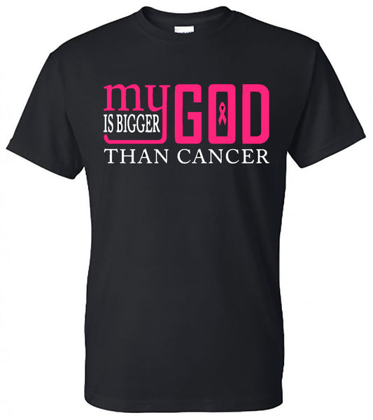 My God Is Bigger Than Cancer = Black Short-Sleeve Tee  Colors will be as shown  Southern Grace Creations