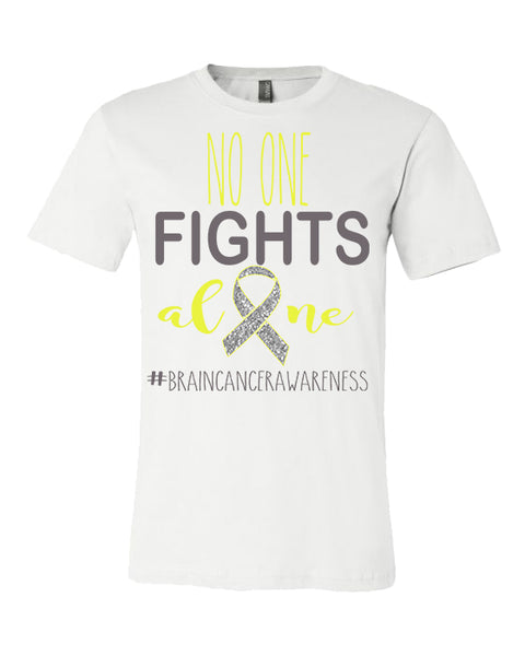 No One Fights Alone - Brain Cancer Awareness - White Tee