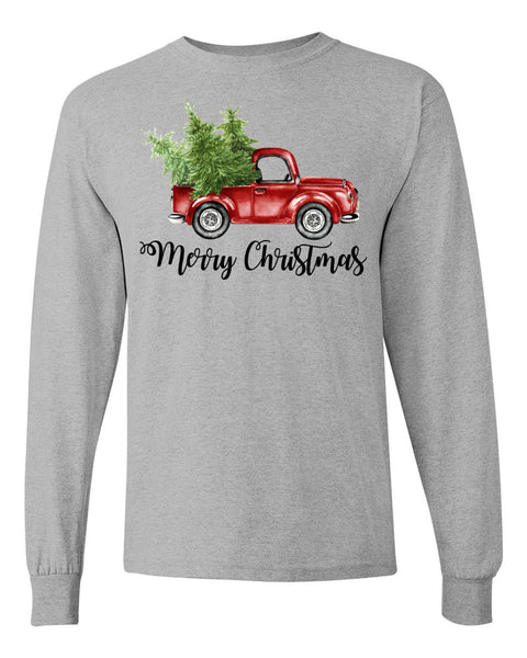 """Merry Christmas"" Vintage Truck - Grey Long Sleeves"