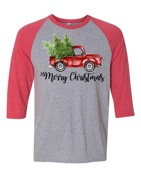 """Merry Christmas"" Vintage Truck - Heather Red/Heather Grey Raglan - southern-grace-creations"