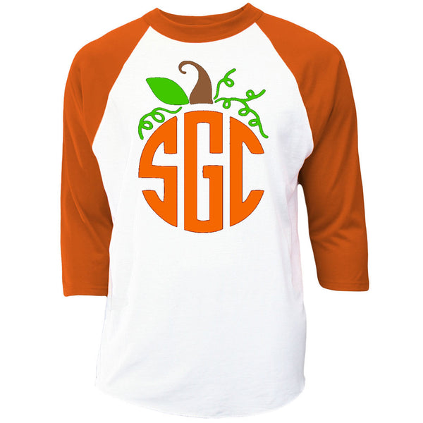 Pumpkin Monogram Raglan - Orange/White Raglan