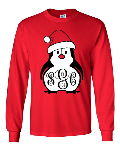 Christmas Penguin Monogram - Red Longsleeve Tee  Colors and font will be as shown  Christmas  Southern Grace Creations