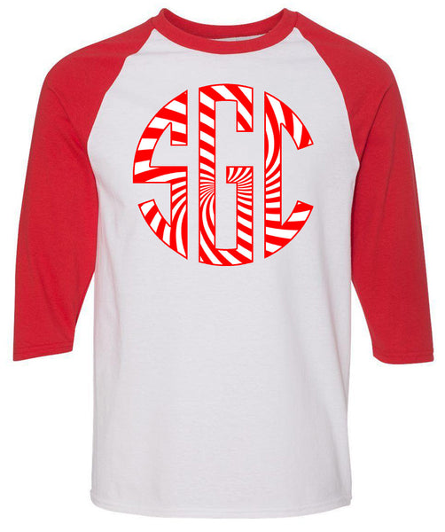 Peppermint Monogram - White/Red Raglan