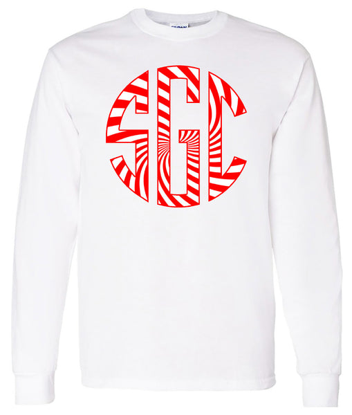 Peppermint Monogram - White Long Sleeve
