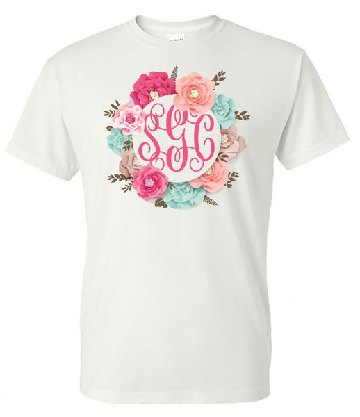 The Perfect Flower Frame Monogram  New design- White Short Sleeve Tee