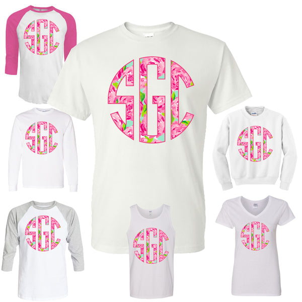 PINK FLOWER (LILLY PULITZER INSPIRED) CIRCLE MONOGRAM PRINTED SHIRT