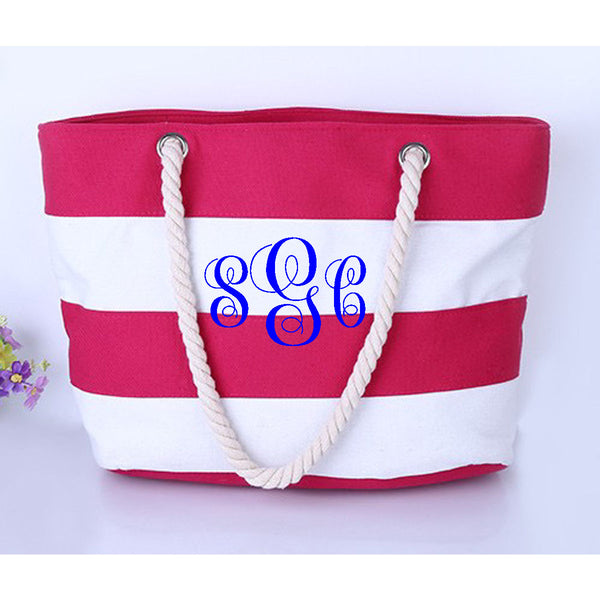 Stripe Beach Tote - Pink/White