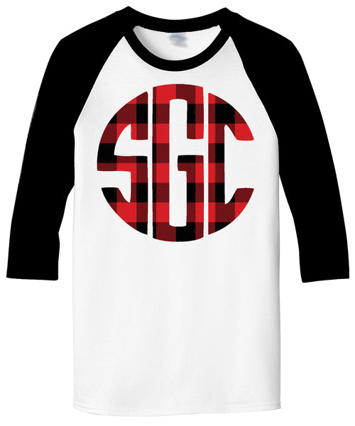 Buffalo Plaid Monogrammed White/Black Raglan