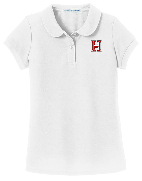 Howard - Girls Peter Pan Collar Polo - White