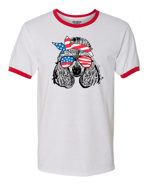 poodle with American Flag Bandana & Glasses Tee fourth of july memorial day labor day