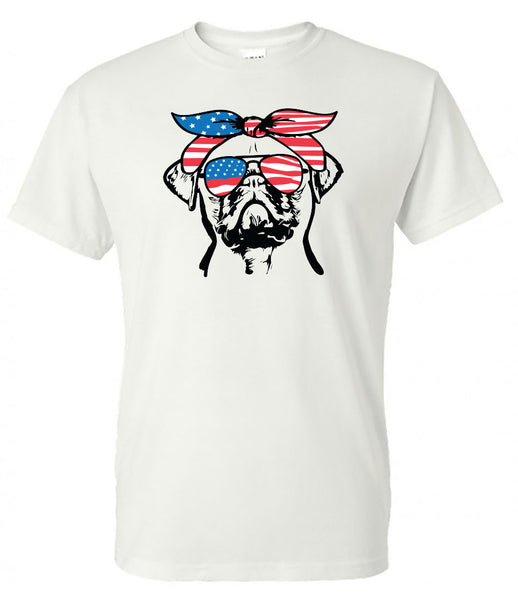 Pug with American Flag Bandana & Glasses Tee fourth of july memorial day labor day
