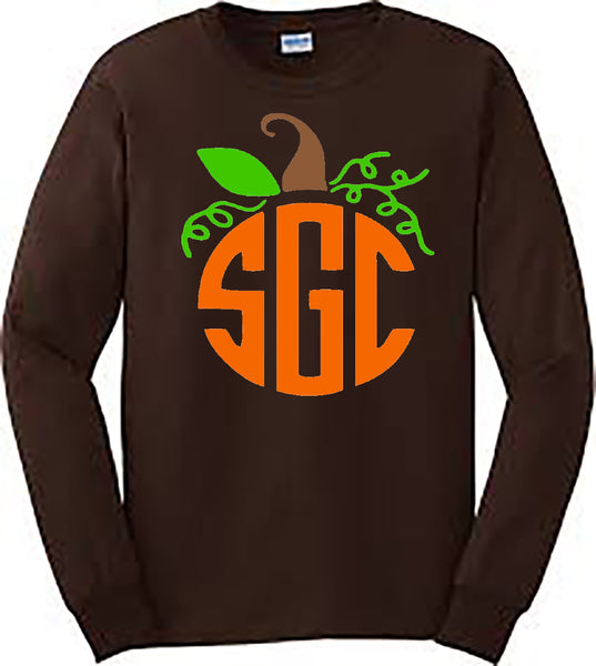 Pumpkin Monogram Tee - Dark Chocolate Longsleeve