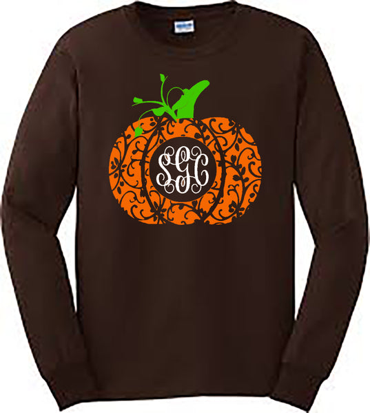 MONOGRAMMED FANCY PUMPKIN - BROWN LONG-SLEEVES southern grace creations