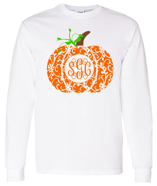 MONOGRAMMED FANCY PUMPKIN - WHITE LONG-SLEEVES