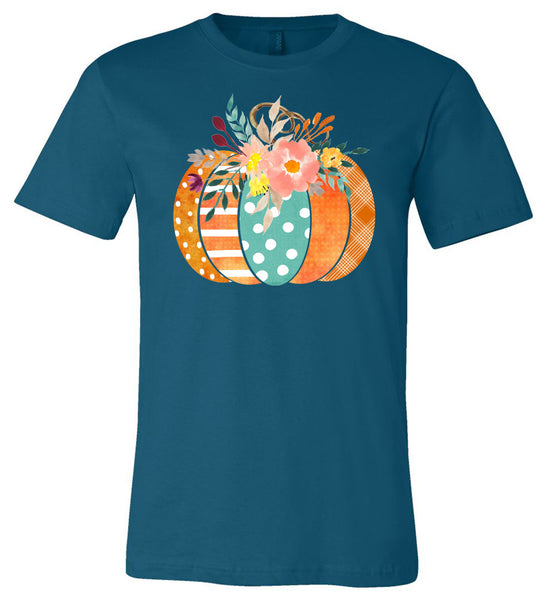 Pumpkin Cute Flowers - Deep Teal Short/Long Sleeve Tee