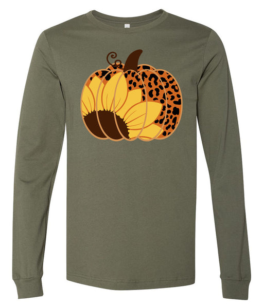 Pumpkin Sunflower Leopard - Military Green Short/Long Sleeve Tee