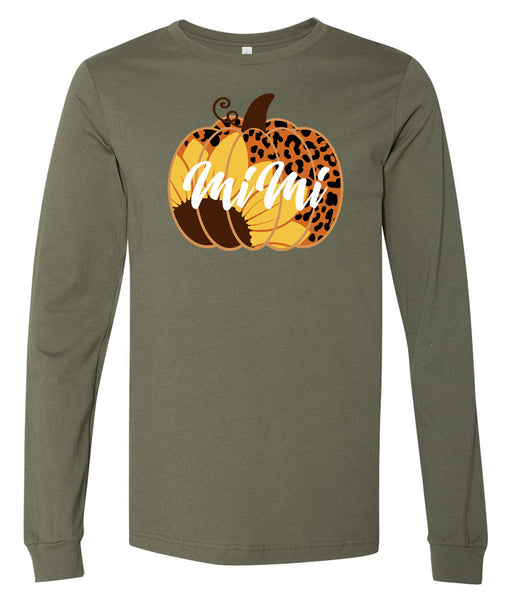 Pumpkin Sunflower Leopard PERSONALIZED - Military Green Short/Long Sleeve Tee