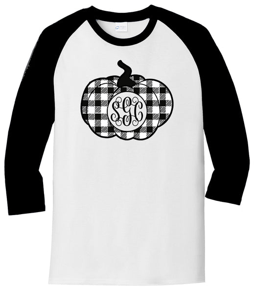 Black/White Plaid Pumpkin Monogram - White/Black Raglan