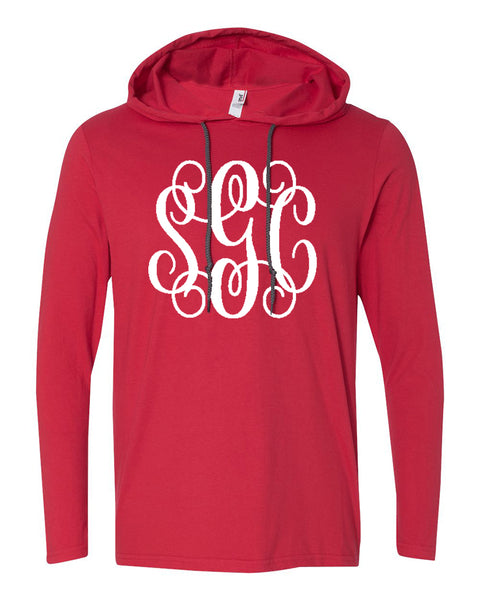 Anvil Lightweight Hoodie Tee with Big Monogram - Southern Grace Creations