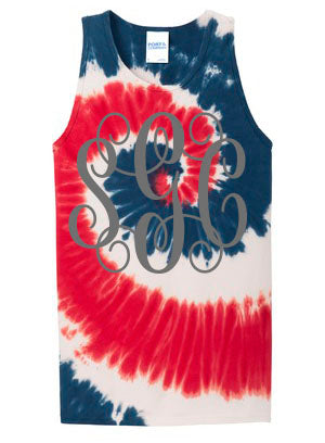 Monogrammed American Tie Dye Tank - Southern Grace Creations