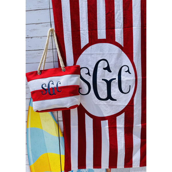 Stripe Beach Tote & Towel Set - Red/White