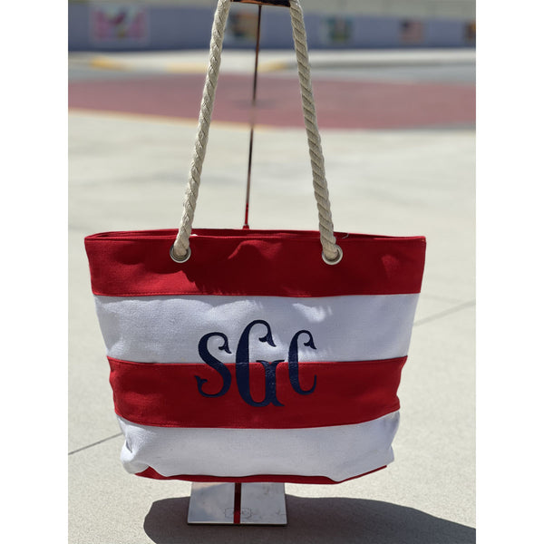Stripe Beach Tote - Red/White