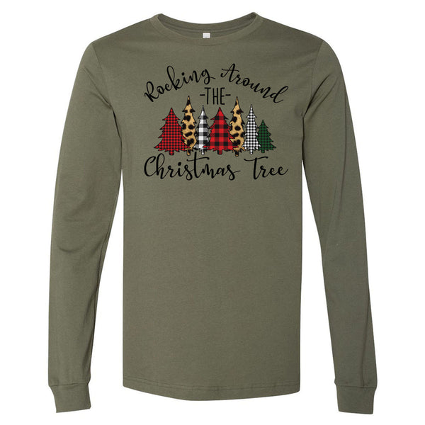 Rocking Around the Christmas Tree - Military Green Longsleeve Tee