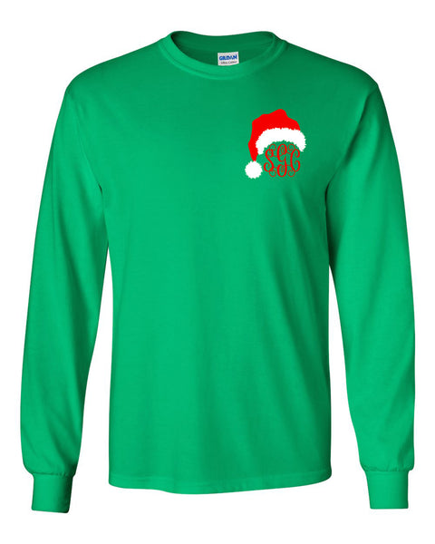 Santa Hat Monogram (Left Chest) - Kelly Green Long Sleeves Tee
