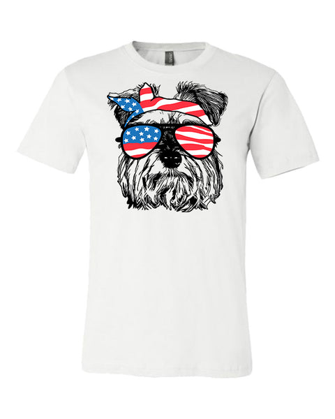 Schnauzer with Flag Bandana and Glasses Tee