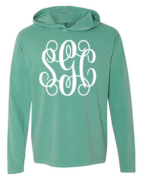 Comfort Color Tee with Hoodie Tee with Big Monogram