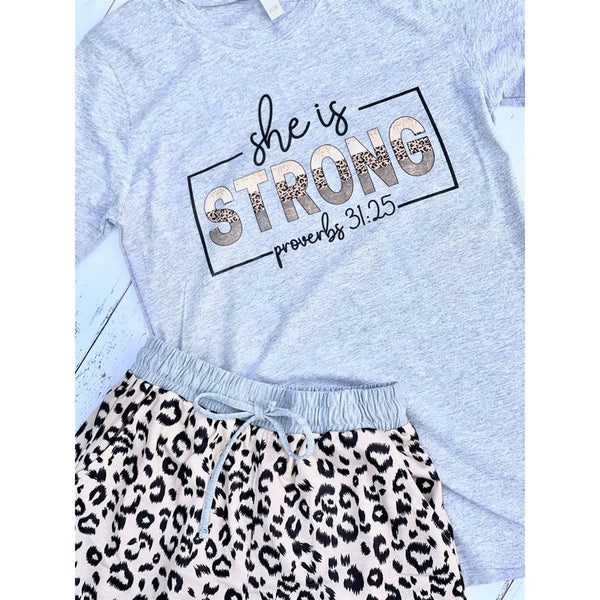 She is Strong Leopard Short Set