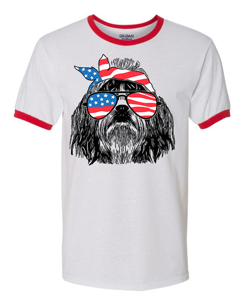Shih Tzu with Flag Bandana and Glasses Tee