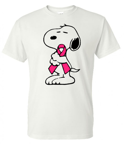 Snoopy Breast Cancer - White Short-Sleeve Tee  Colors will be as shown (pink will be non-flaking glitter)  Southern Grace Creations