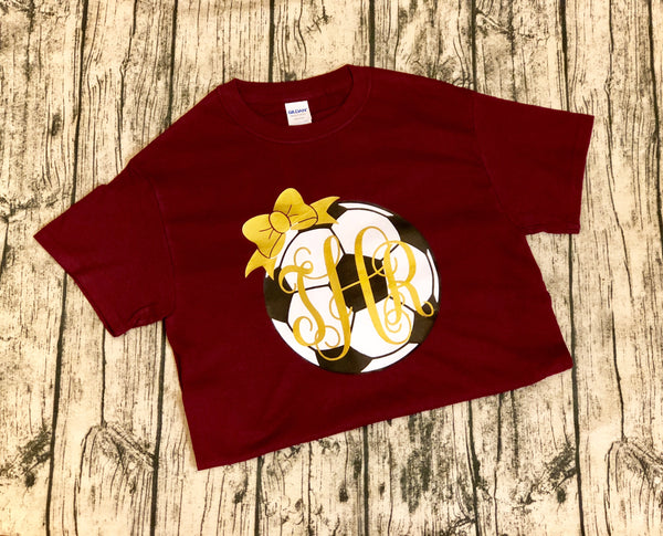Soccer Ball Monogram with Bow