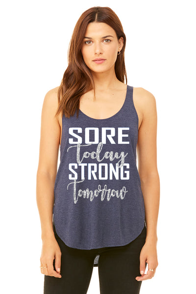 """Sore Today Strong Tomorrow"" - Heather Navy Flowy Side Slit Tank (8802)"