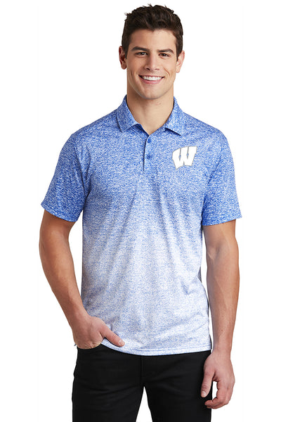 Windsor - Sport-Tek Ombre Heather Polo - White/ True Royal (ST671) southern grace creations