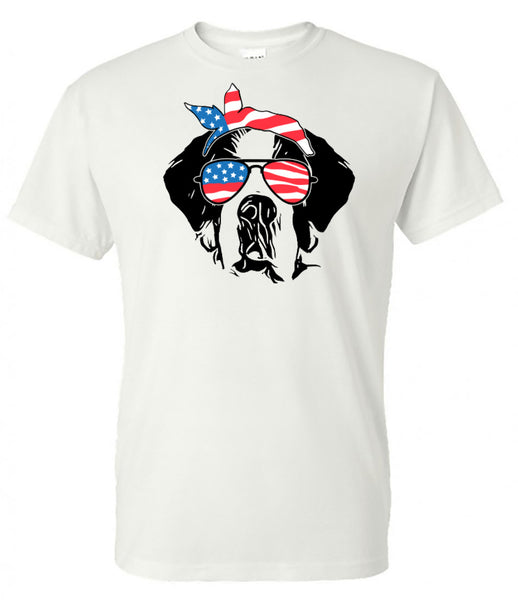 st bernard with American Flag Bandana & Glasses Tee fourth of july memorial day labor day