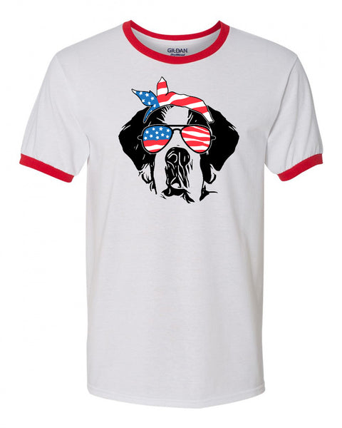 St Bernard with Flag Bandana & Glasses Tee