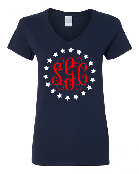Stars Circle Monogram - Navy LADIES V-Neck Tee