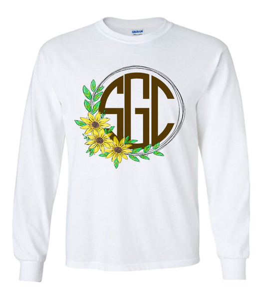 Sunflower Wreath Monogram White Longsleeve Tee