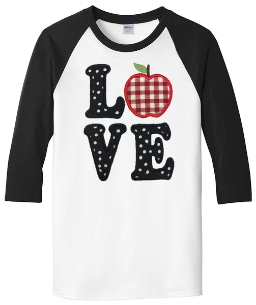 Teacher Love Applique - White/Black Raglan - Southern Grace Creations