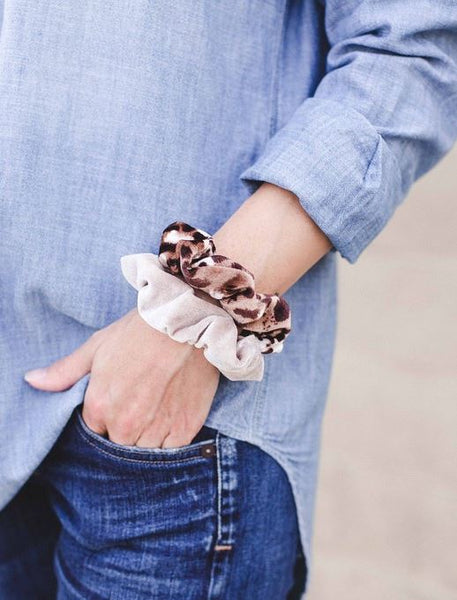 Leopard Velvet Duo Hair Scrunchie