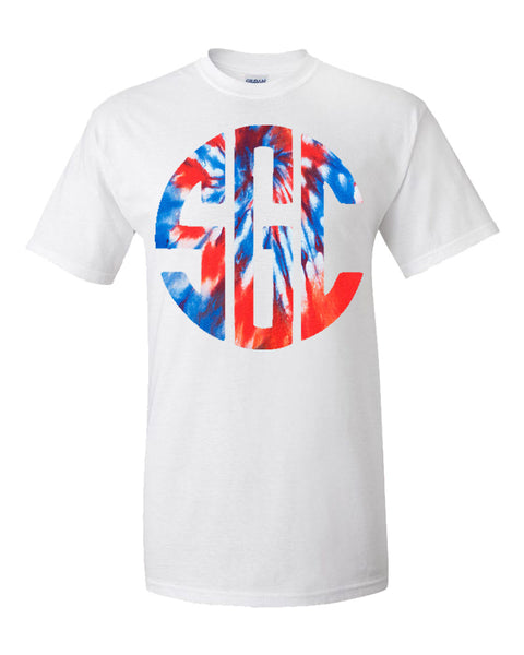 Red, White and Blue Monogram Tie Dye T-Shirt - White Short-Sleeve Tee
