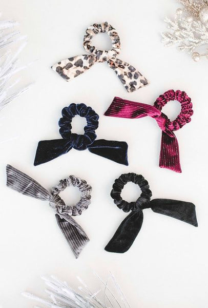 Velvet Bow Scrunchie-Grey Stripe